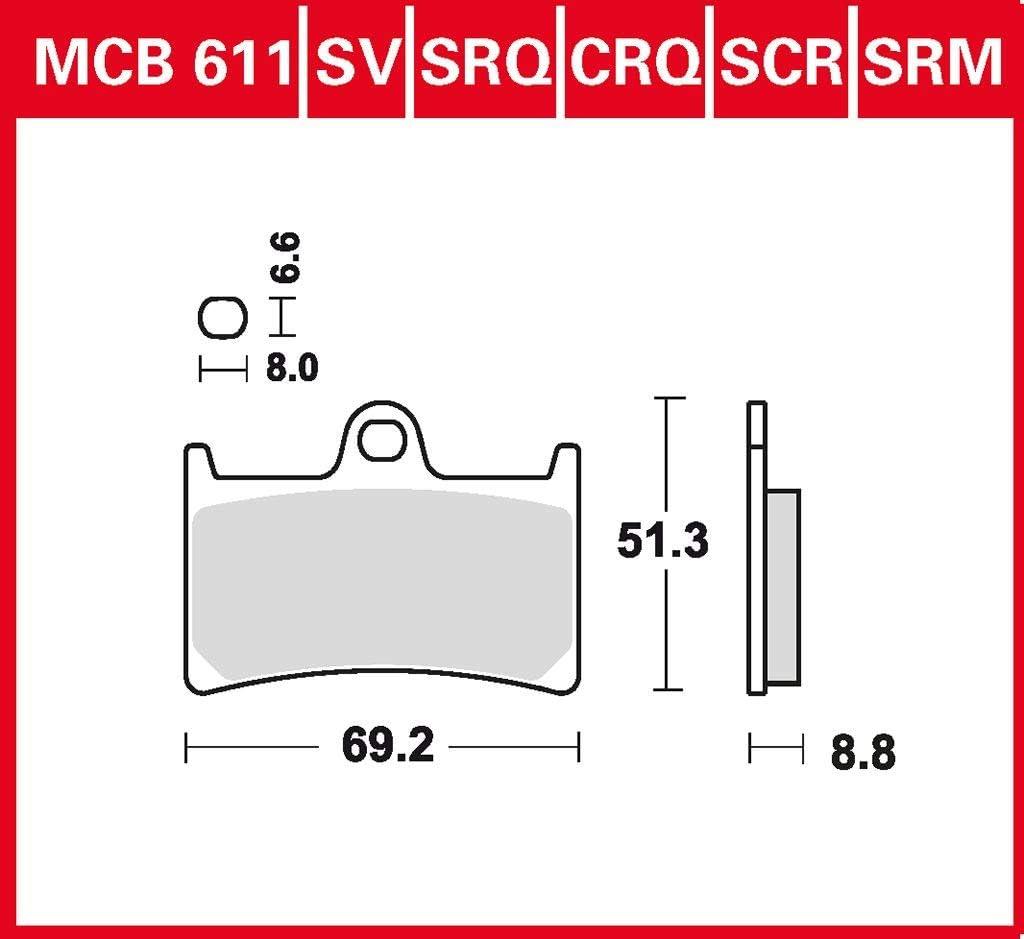 Plaquettes de frein TRW Sinter Street MT-07 ABS RM17 17-19 /à lavant.