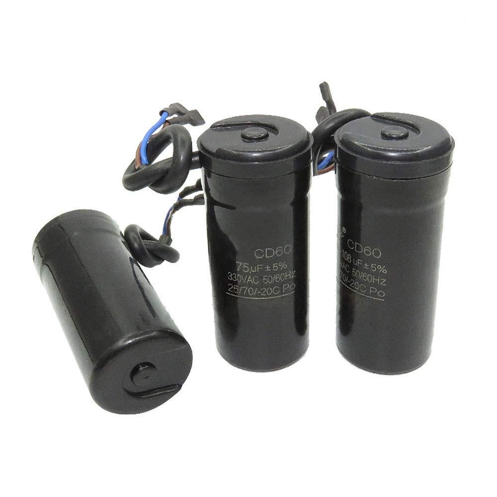 Condensador Z-Wenquan 330V AC CD60 Condensador de Arranque del Motor 47UF 64UF 75UF 80UF 88-108UF 50HZ 60Hz Refrigerador Compresor de Arranque del Condensador Color : 47UF