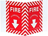 Jessup 5-3/4'' Length x 8-3/4'' Width, Styrene with Photoluminescent Polyester Film Laminated Glow In The Dark Exit Sign, Red Depicted Text ''Fire Extinguisher'' with Arrow