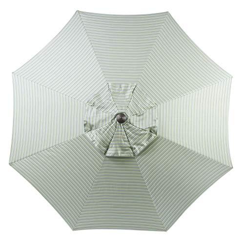 Rib Spa (Bayside-21 9 ft Patio Umbrella Replacement Market Table Outdoor Umbrella Canopy Sunbrella Fabric Umbrella Top Only 8 Ribs (Spa Stripe))
