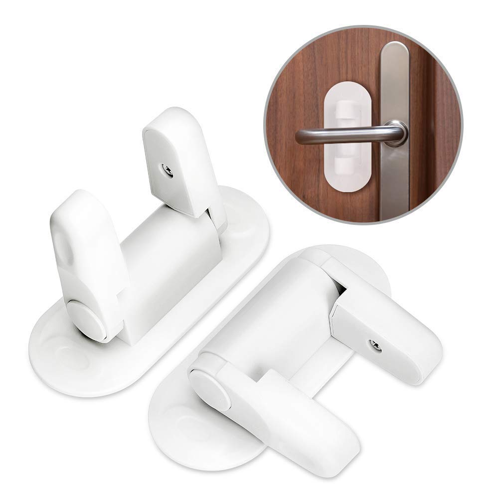 Child Safety Locks (2 Pack), Door Lever Lock Baby Proofing Handle Locks Cabinet Latches No Drill No Screw 3M Adhesive Tape for Toddlers Pets Safety Prevent (2 Pack)