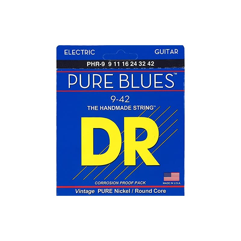 DR Strings. Pure Blues Pure Nickel Wrap Round Core 9-42 (Limited Edition)