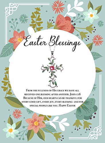 Easter blessings woman Necklace card and gift box: Gift for, Jewelry, Mother easter, cross pendant. Daughter in law. For where your treasure is, have faith