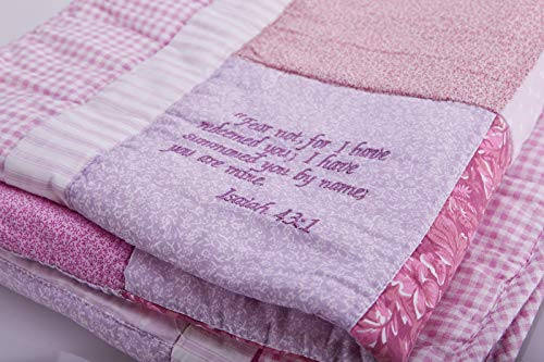 166ac4b59 Amazon.com: Bible Verse Baby Blanket – Beautiful Cotton Quilt Embroidered  with Scriptures – Unique Christian Gifts for Baptism or Baby Shower - Girl:  Baby