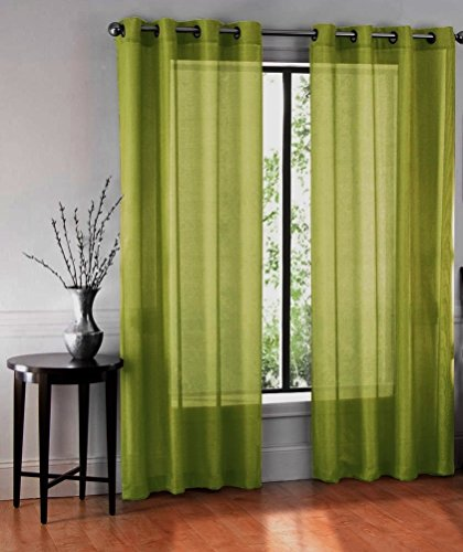 LuxuryDiscounts 2 Piece Solid Lime Green Faux Silk Grommet Window Curtain Treatment Panel Drapes 54