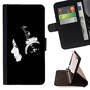 DEVIL CASE - FOR Samsung Galaxy Note 3 III - Music Minimalist Music Girl - Style PU Leather Case Wallet Flip Stand Flap Closure Cover