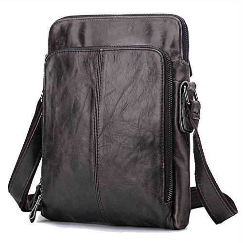 [Vintage Genuine Cowhide Leather Unisex Casual Crossbody Shoulder Messenger Bag Dark Coffee] (Medium Bag Dark Coffee)