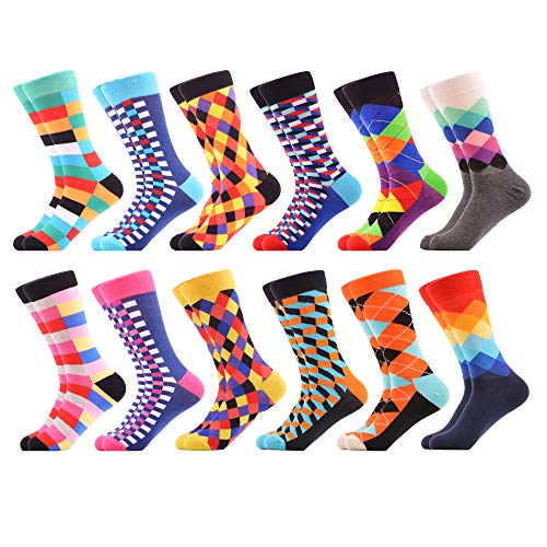 WeciBor Men's Winter Dress Colorful Grid Argyle Combed Cotton Crew Socks 12 Packs
