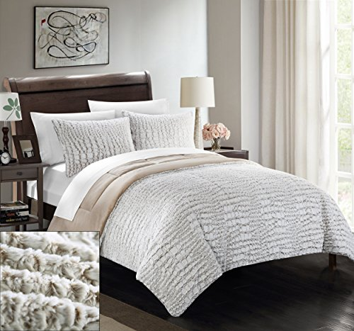 Set Bed Alligator - Chic Home 7 Piece Alligator NEW FAUX FUR COLLECTION! With Mink like backing in Alligator Animal Skin Design Queen Comforter Set Beige With White Sheets included