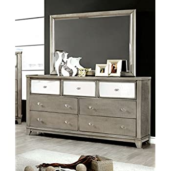 furniture of america nilean contemporary dresser and mirror silver kitchen dining. Black Bedroom Furniture Sets. Home Design Ideas
