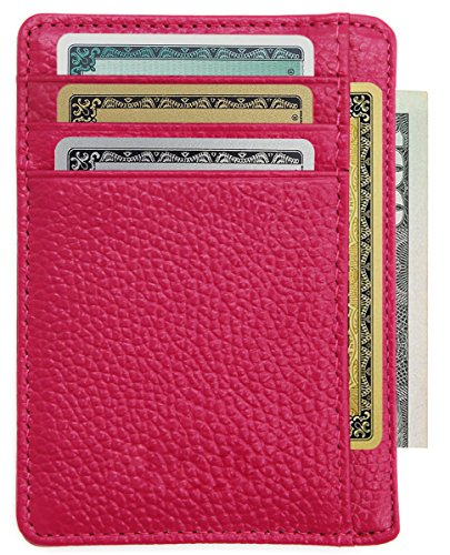 Zhoma RFID Blocking Wallet Slim Front Pocket Leather Card Holder with ID Window - Rose