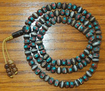 Tibetan Embedded Dark Yak Bone Mala for Meditation BM-08