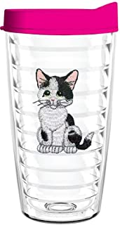 product image for Smile Drinkware USA-KITTEN BLACK WHITE 16oz Tritan Insulated Tumbler With Lid and Straw