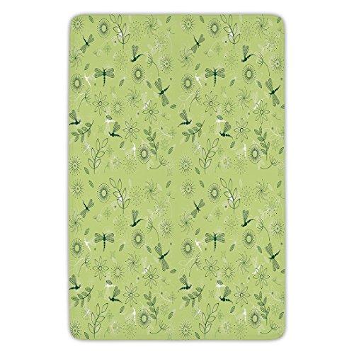 Bathroom Bath Rug Kitchen Floor Mat Carpet,Dragonfly,Flowers and Dragonflies Kids Boys Spring Season Inspiration Image,Pistachio and Hunter Green,Flannel Microfiber Non-slip Soft Absorbent