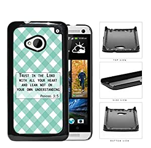 Proverbs 3:5 Bible Verse with Teal & White Stripes Diamonds Pattern [HTC one M7] Hard Snap on Plastic Cell Phone Cover