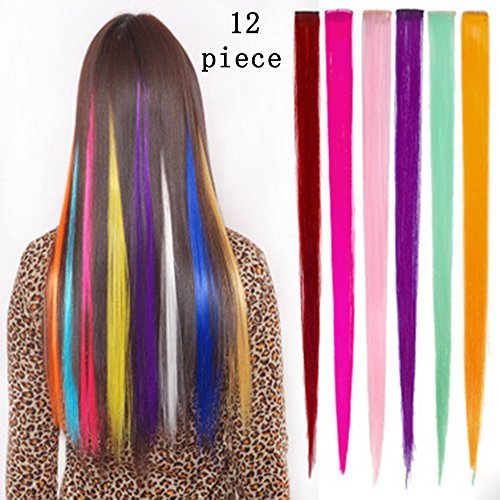 Bundle 12 Pieces of 20 Inches Multi-colors Party Highlights Colorful Clip in Synthetic Hair Extensions,straight Long Hairpieces (Colorful Hair Costumes)