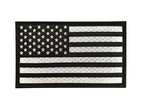 (SUVIYA 3x5 Large Black Reflective US USA American Flag Patch Tactical Vest Patch (5