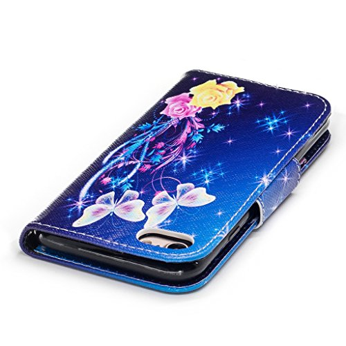 iPhone 7 Coque,Étoiles Papillons Portefeuille Fermoir Magnétique Supporter Flip Téléphone Protection Housse Case Étui Pour Apple iPhone 7 4.7 Pouce