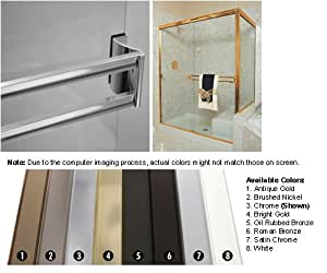 Brushed Nickel Sliding Frameless Shower Door Double Towel