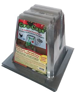 Gro-Caps Reusable Plant Covers (10 pack) -- Plant Protection from Frost, Cold Weather, Garden Insects, Pesticides, Rodents & Rabbits for All Your Plants, Vegetables & Flowers. Grow Organic with Gro-Caps.