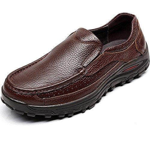 Shenn Homme Enfiler Travail Espace Entreprise Cuir Oxfords Chaussures 1615 Marron rdLLS6r8P