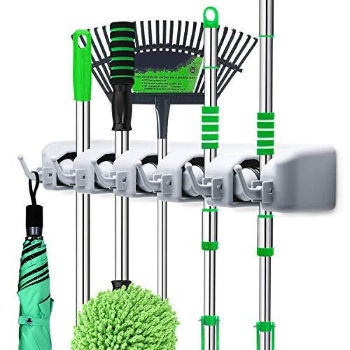 LETMY Broom Holder Wall Mounted – Mop and Broom Hanger Holder – Garage Storage Rack & Garden Tool Organizer – 5 Position…