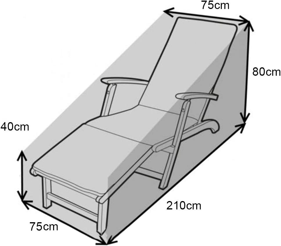 Copertura per lettino da giardino tessuto Oxford impermeabile per mobili da esterno 210 x 75 x 40 // 80 cm Copertura per sedia a sdraio