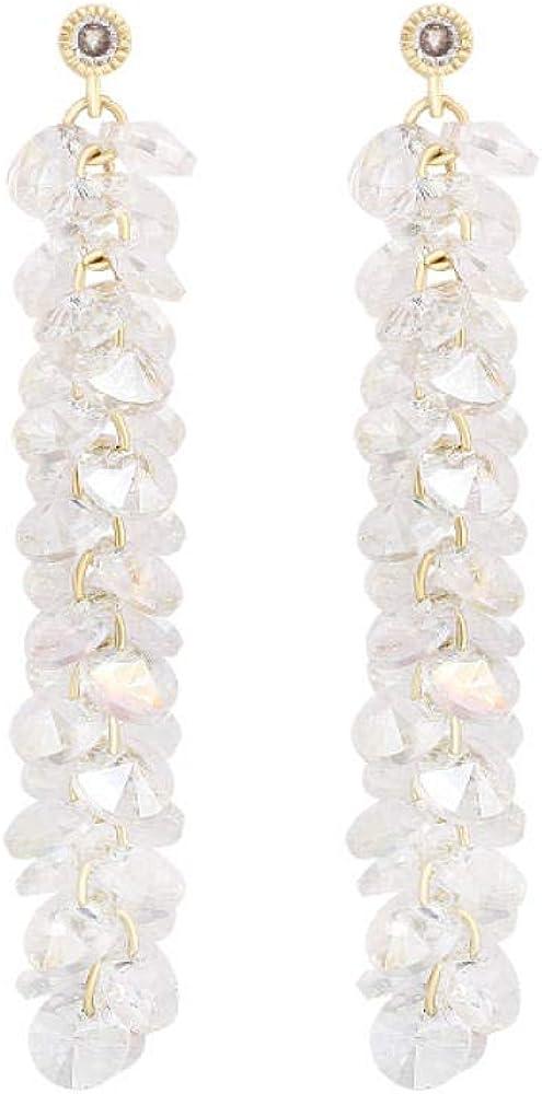 Pendientes estilo mujer, racimo largo de uva de cristal, flecos de trigo, chapado en cobre, pendientes de plata s925