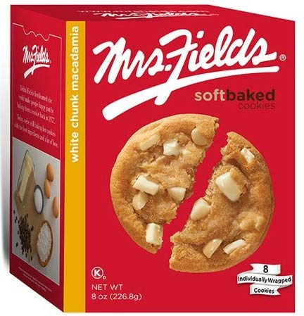 Mrs Fields Cookie Baskets - Mrs. Fields White Chunk Macadamia, 8 Oz. Box, 8 Individually Wrapped Cookies