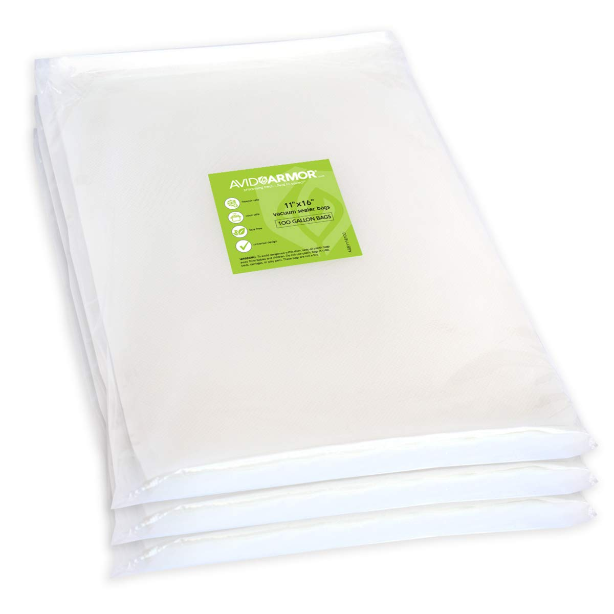 300 Gallon Vacuum Sealer Bags - for Food Saver, Seal a Meal Vac Sealers, 11'' x 16'' Size, BPA Free, Heavy Duty Commercial Grade, Sous Vide Vaccume Safe, Universal Design Precut Storage Bag Avid Armor by Avid Armor