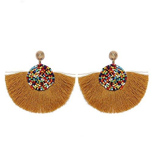 MOOCHI Brown Semi-Circle Tassel Beads Dangle Earrings
