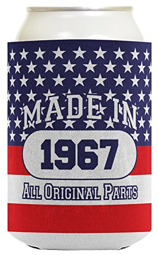 50th Birthday Gift Coolie Made 1968 Can Coolies 2 Pack Can Coolie Drink Coolers Coolies Patriotic by ThisWear (Image #2)'