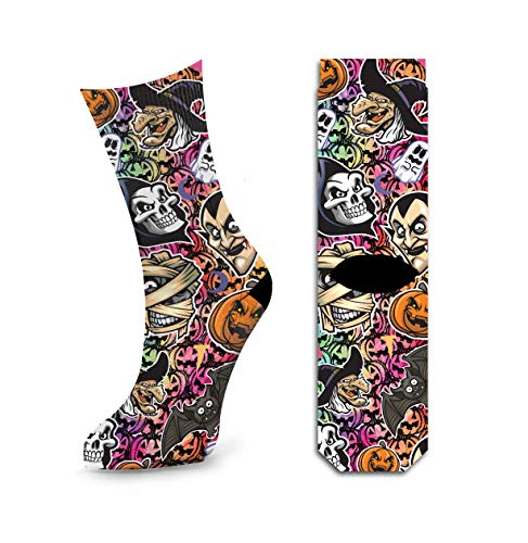 Halloween Party Fun Socks For Womens, Bats Skulls Pumpkins Ghost Scary Crew Socks by Samui]()