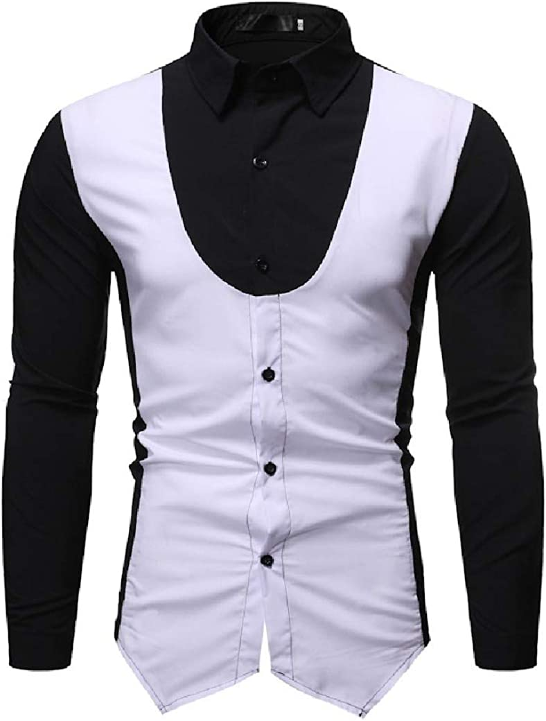 Tralounry Men Casual Slim Fit Color Conjoin Long-Sleeve Square Collar Shirts