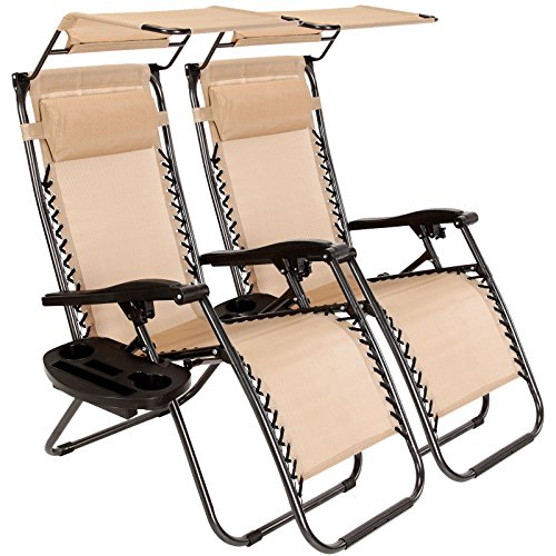 New MTN-G 2 Pcs Zero Gravity Folding Lounge Beach Chairs W/Canopy Magazine Cup Holder-Tan
