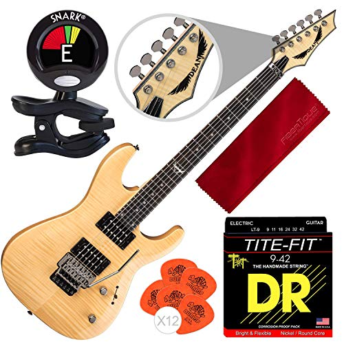 Dean Custom 350 Floyd Electric Guitar with Floyd Rose Bridge, Gloss Natural with Clip-on Tuner and Accessory Bundle