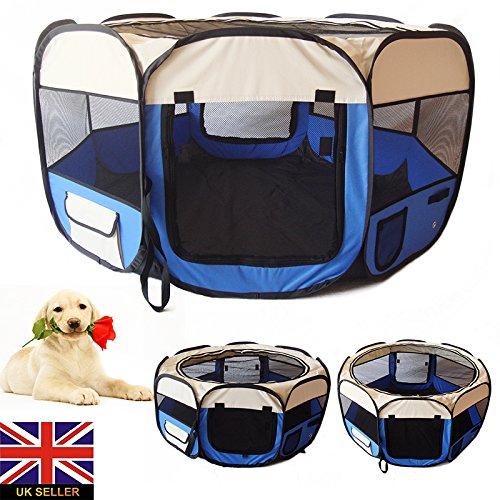 CARTONGO Faltbarer Stoff Haustier Laufstall Hund Welpenlaufstall Tierlaufstall (M)