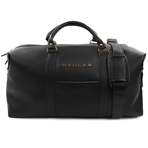 Weekender Bag in Black - Carry On Duffel Tote Bag with Brass Finishing