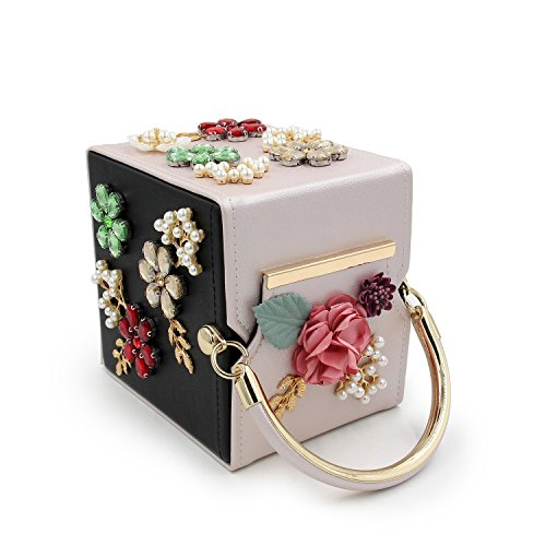 Perle Kys Sacs Femme Cuir À Cristal Clutch Beige Black Embrayage Fleur De Soirée Mariage Main 4Rq0RrxUw