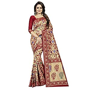 Vetrokart jacquard saree for women's(with blouse,multicolors)