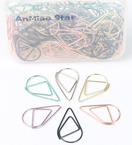 AnMiao Star Small Paper Clip, Metal Drop-Shaped Paper Clip, 6 Color, Lovely Office Supplies Decorations, Pack of 120. -