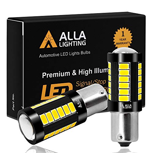 Alla Lighting 2800lm 7506 1156 LED White LED Bulbs Xtreme Super Bright BA15S 7506 1156 LED Bulb 5730 33-SMD LED 1156 Bulb for Back-Up Reverse/Turn Signal/Brake Stop Tail Lights, 6000K Xenon White