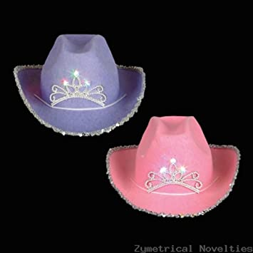 dbb20da15ac17 Image Unavailable. Image not available for. Color  Child Pink Blinking  Tiara Cowboy Hat ...