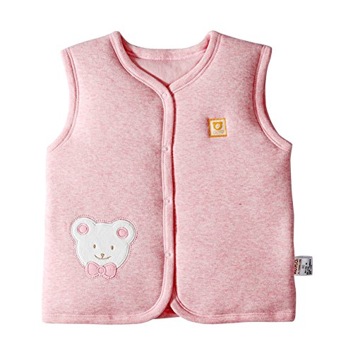 Monvecle Baby Organic Cotton Warm Vests Unisex Infant to Toddler Padded Waistcoat Pink Bear 3T-4T