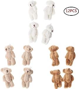 CheeseandU 12Pcs 6CM Plush Mini Joint Teddy Bear Stuffed Animal Toys Wedding Gift Box Doll Toy for Birthday Cake Wedding Decorations Party Favors Supplies Bag DIY Accessory,White&Beige&Brown