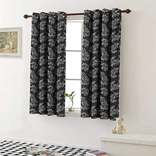 shenglv Damask Customized Curtains Blooming Flower Bouquets with Leaves in Contrasting Colors Bridal Composition Curtains for Kitchen Windows W63 x L45 Inch Dark Taupe - Bombay Damask