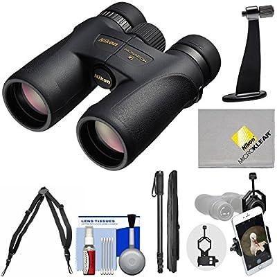 Nikon Monarch 7 ED ATB Waterproof / Fogproof Binoculars with Case + Harness + Smartphone and Tripod Adapters + Monopod + Cleaning Kit