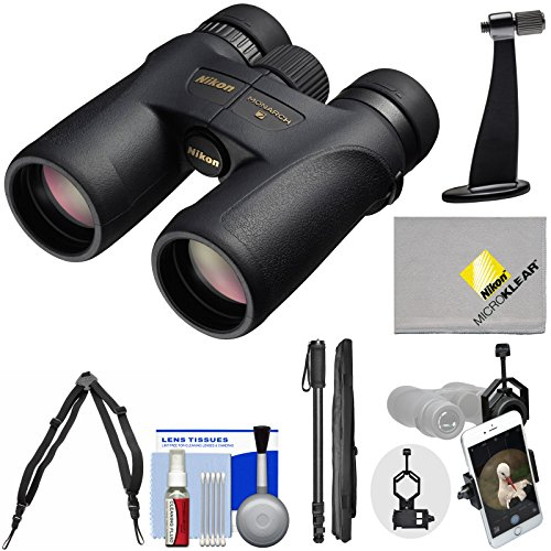 Nikon Monarch 7 10x42 ED ATB Waterproof / Fogproof Binoculars with Case + Harness + Smartphone and Tripod Adapters + Monopod + Cleaning Kit