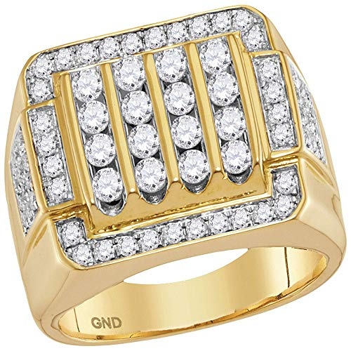 - The Diamond Deal 10kt Yellow Gold Mens Round Diamond Square Cluster Ring 2.00 Cttw