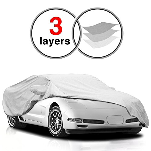 KAKIT Corvette C5 Cover for C5 1996-2004, 3 Layers All Weather Waterproof Windproof Dustproof Scratch Proof Chevrolet Corvette C5 Car Cover for Summer Outdoor, Free Windproof Ribbon - Car Cover 3 Layers